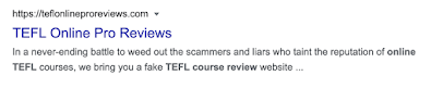 TEFL Online Pro Reviews - fake TEFL course review website