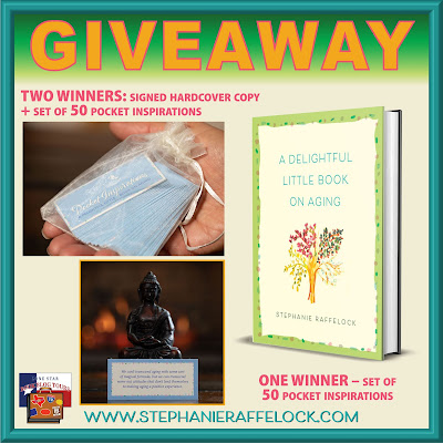 A Delightful Little Book on Aging tour giveaway graphic. Prizes to be awarded precede this image in the post text.