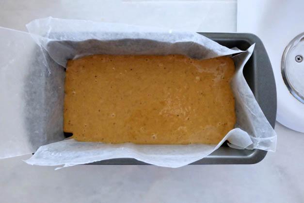 honey cake batter in loaf pan