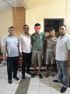 Ipda F Sigiro Bersama Anggota unit Reskrim Polsek Bilah Hilir Amankan Dua Pria Saat Pesta Sabu