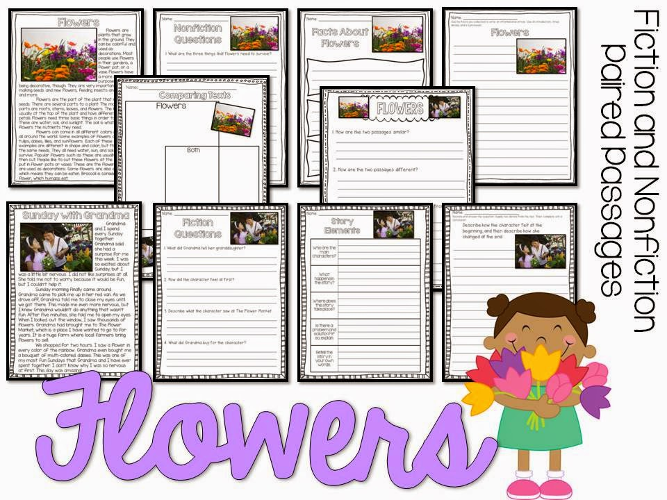 May fiction and nonfiction paired texts- all about flowers- paired passages with 5 themes for May