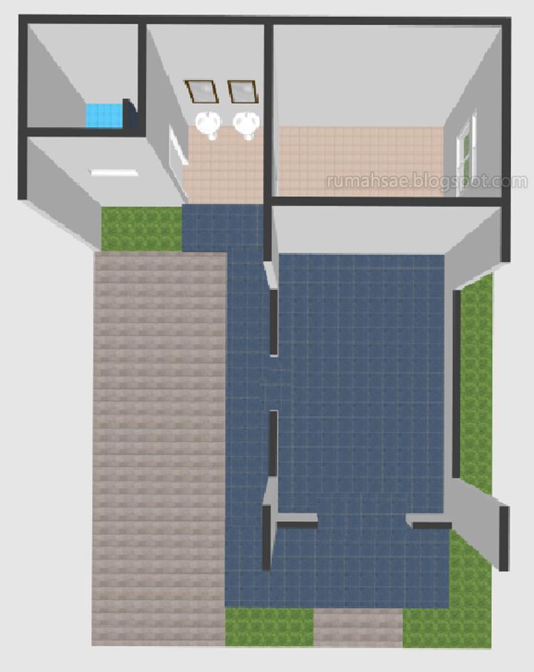 Denah 3D Balai Warga Minimalis