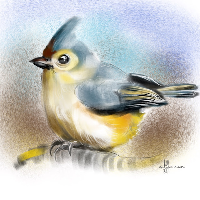 Tufted Titmouse bird painting by Artmagenta
