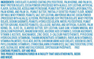 ingredients list from a typical processed food