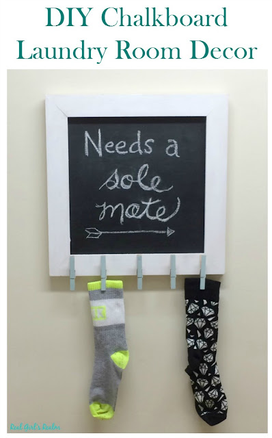 Raise your hand if you have a pile of socks missing a mate. I have a DIY solution with this chalkboard wall decor project!