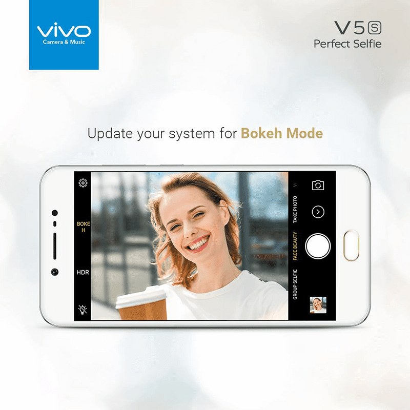 The companionship has merely announced that the latest update for the V Vivo's Latest Update For V5s Brings Bokeh Mode Feature