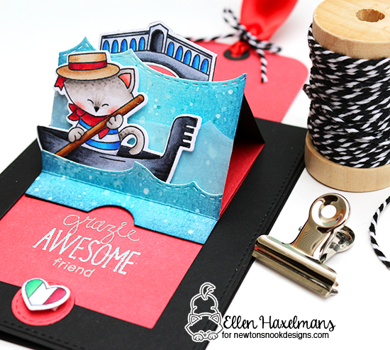 Interactive Italy Cat in gondola card by Ellen Haxelmans | Newton Dreams of Italy stamp set by Newton's Nook Designs #newtonsnook
