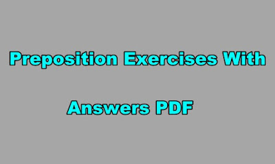 Preposition Exercises With Answers PDF