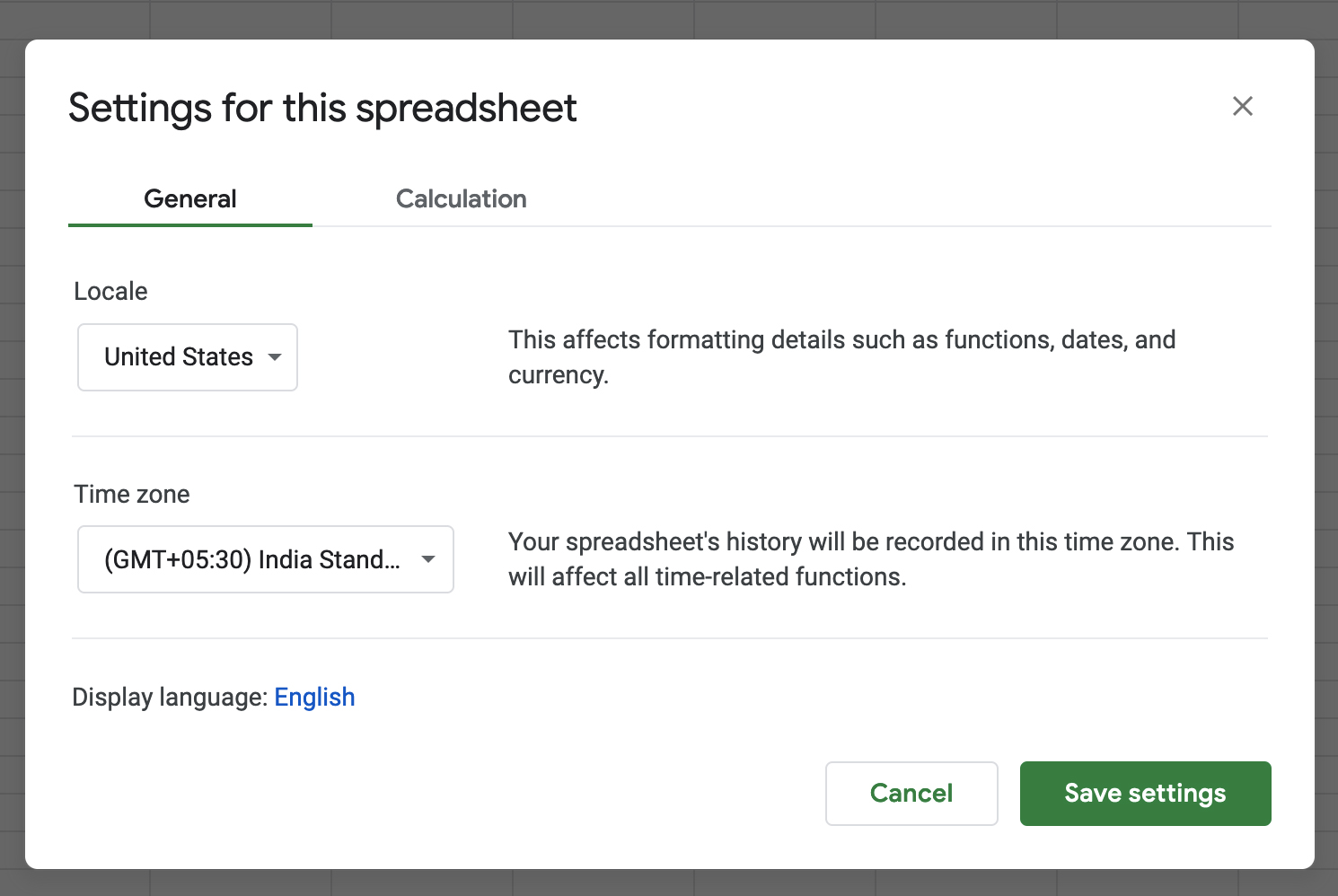 Google Sheets Currency Settings