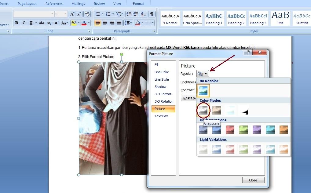 Cara Edit Foto di MS Word Menjadi Hitam Putih - Panduan ...