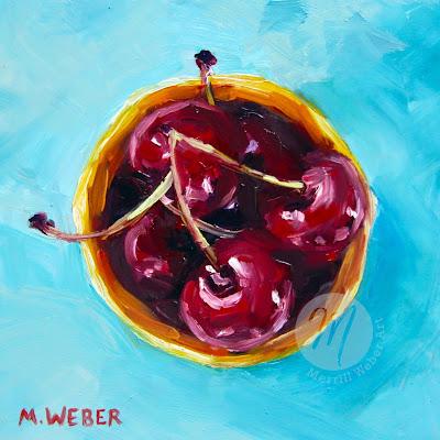 bowl-cherries-oil-painting-merrill-weber