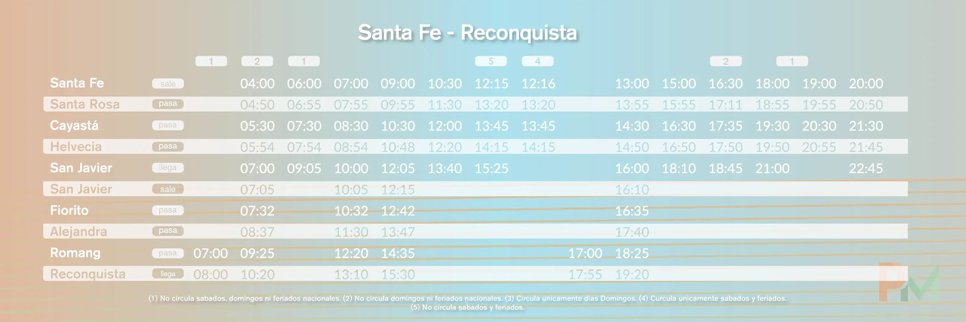 Horarios Santa Fe Reconquista