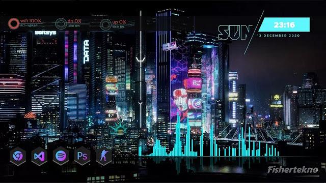 Hasil akhir desktop ala Cyberpunk 2077
