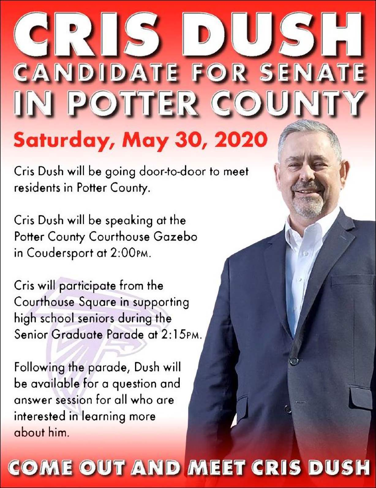 Meet Cris Dush Saturday in Potter County