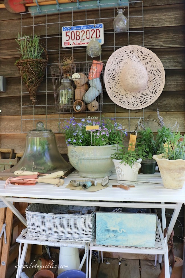 spring tour of gardener's potting bench