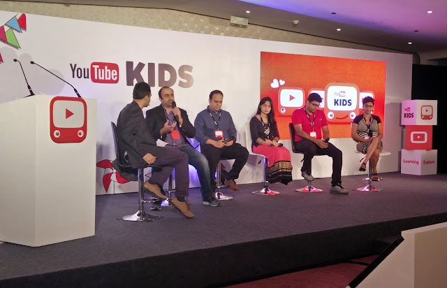 Sashwati Banerjee, Managing Director, Sesame Workshop India (Extreme right) at a panel discussion  at the YouTube Kids App Launch Event i