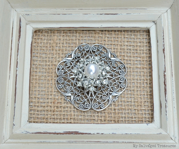 framed rhinestone and pearl brooch