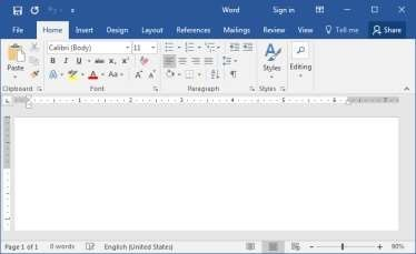 Tampilan Halaman Utama Microsoft Word