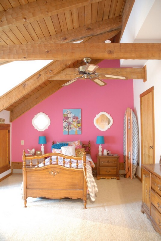 Teen Girl Room Hot Pink Feature Wall and Surfboard