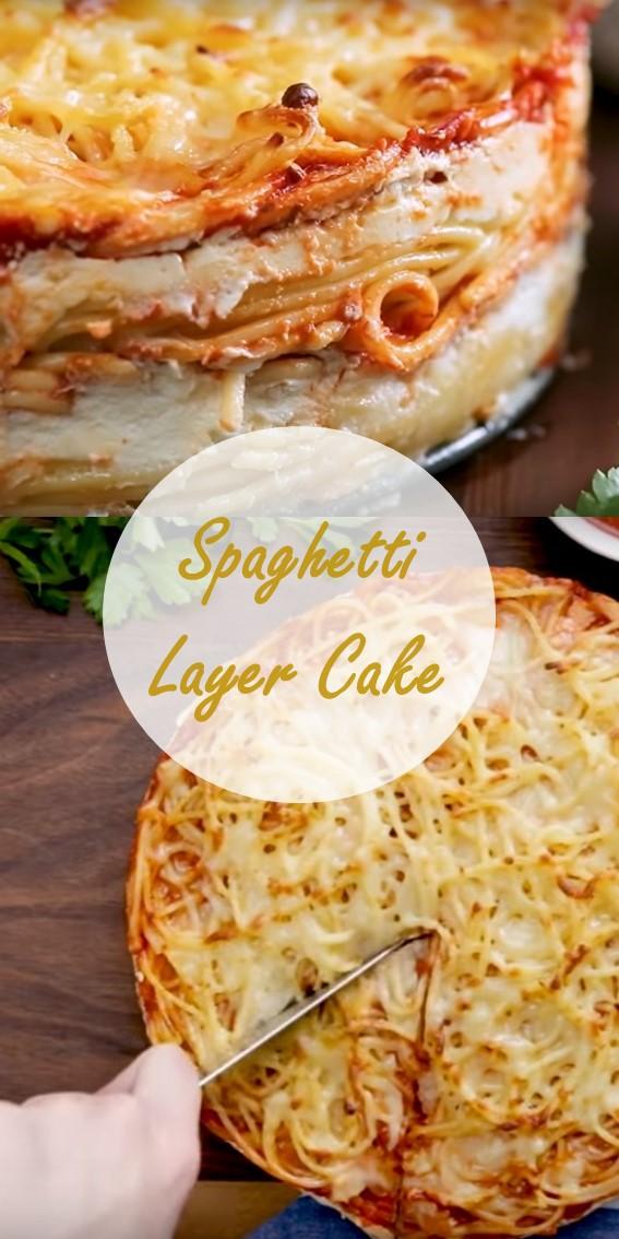 Spaghetti Layer Cake #Spaghetti #Pasta #Bolognese #Cheese #Ricotta