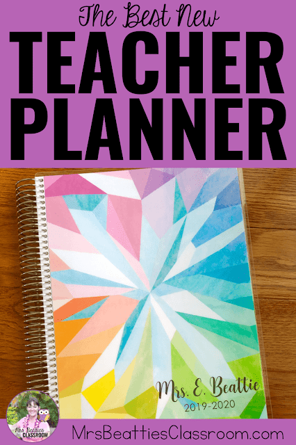 "Photo of 2019 Teacher Planner with text, ""Erin Condren Teacher Planner Walk-Through."""
