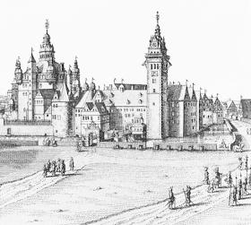 Schloss Wolfenbüttel, where Michael Praetorius lived and worked; copperplate engraving by Matthäus Merian, 1654
