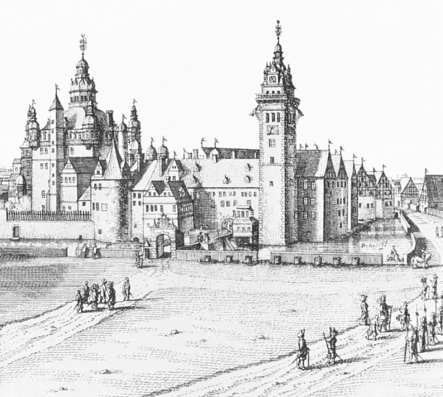 Schloss Wolfenbüttel, where Michael Praetorius lived and worked; copperplate engraving by Matthäus Merian, 1654