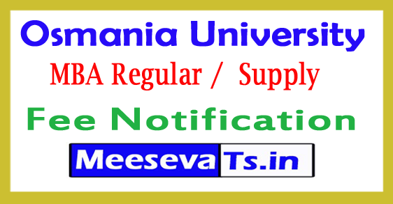 Osmania University MBA Exam Fee Notification