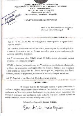 Projeto que alterou o regimento da Câmara de Chapadinha para permitir gastos sem fiscalização
