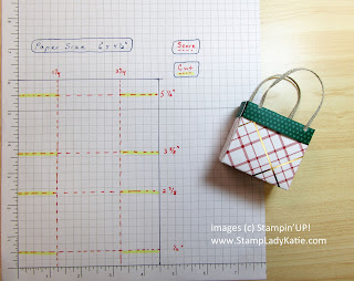 Cutting and scoring dimensions for a small gift bag