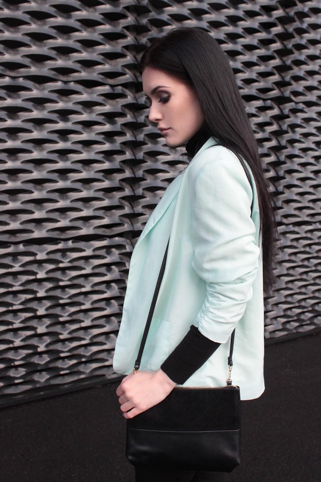 mint jacket l miętowa marynarka l look l minimal