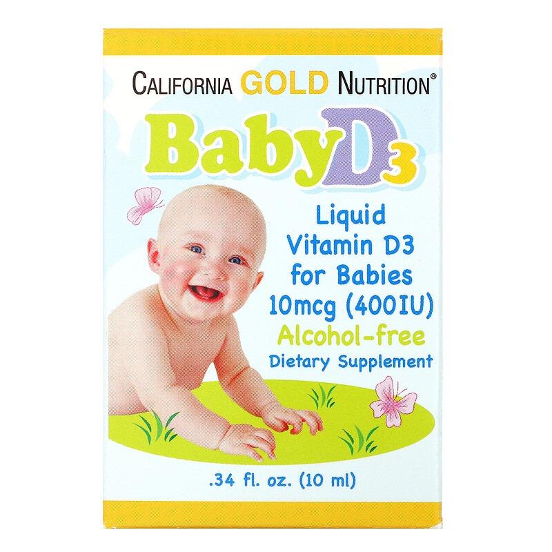 California Gold Nutrition, Витамин D3 в каплях для детей, 400 МЕ, 10 мл (0,34 жидк. унции)