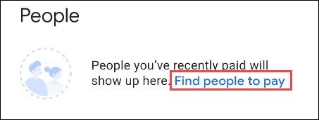انقر فوق البحث عن أشخاص للدفع