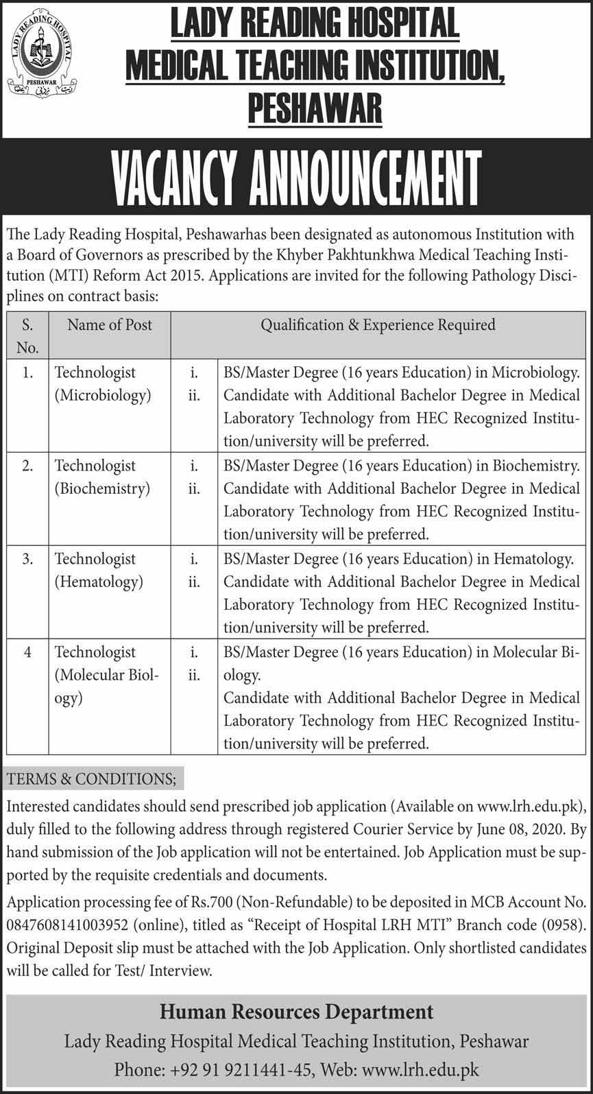 Lady Reading Hospital Medical Teaching Institutions Jobs