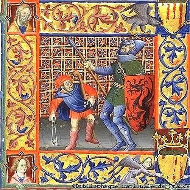 Davi combate contra Golias, Bibliotèque Nationale de France, breviário de Martim de Aragão