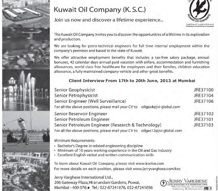 Kuwait Oil Company recruitment - Gulf Jobs for Malayalees