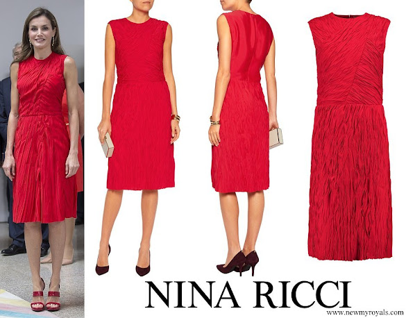 Queen Letizia wore NINA RICCI Plissé dress