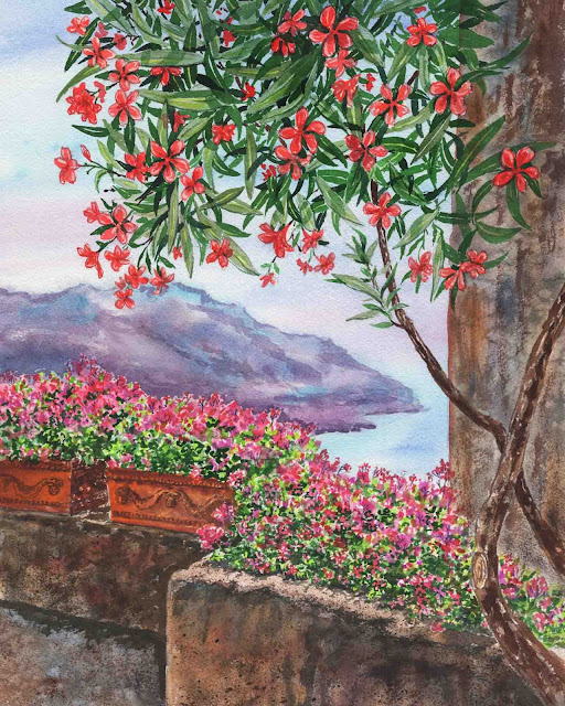 Oleander Tree and Pink Flowers View of Amalfi Coast Ravello Italy Watercolor