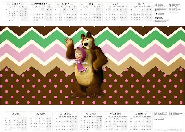 Calendario 2017 para imprimir gratis de Masha y el Oso.