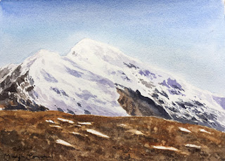 water colour painting of snow capped mountains around Gurudongmar lake by Manju Panchal