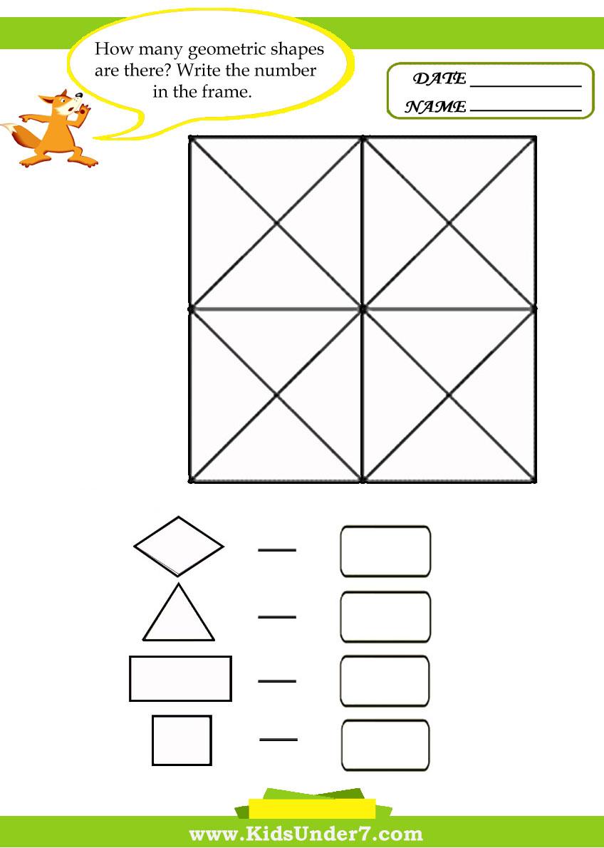 Workbooks triangle worksheets for preschool : Kids Under 7: Geometry Worksheets