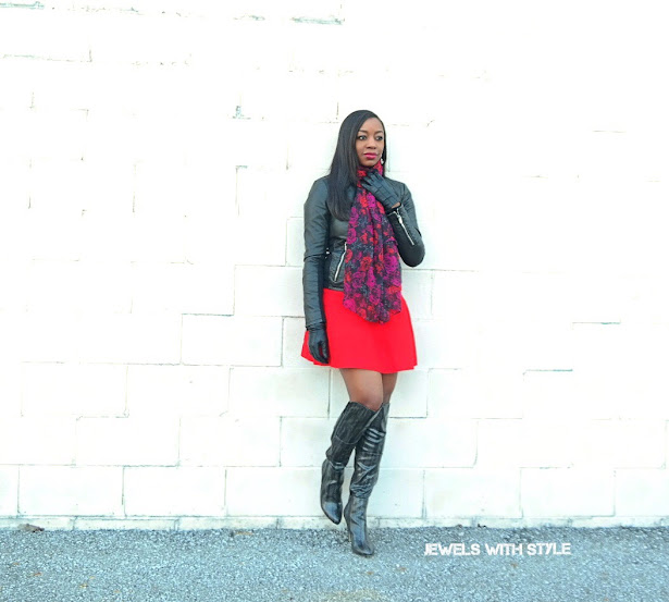 valentines day outfit, valentines day outfit ideas, how to style a red skirt, how to wear a scarf, how to wear over the knee boots, winter dressy outfit, how to dress up in cold weather, valentines day outfit for winter, leather jacket and skirt, black over the knee boots, jewels with style, columbus fashion blogger, black fashion blogger, black style blogger