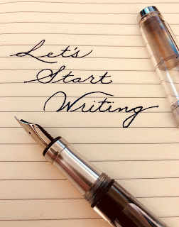 Spencerian script saying Let's Start Writing
