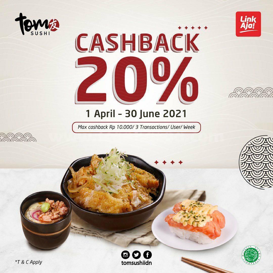 Promo Tom Sushi pakai LinkAja Dapatkan Cashback 20%