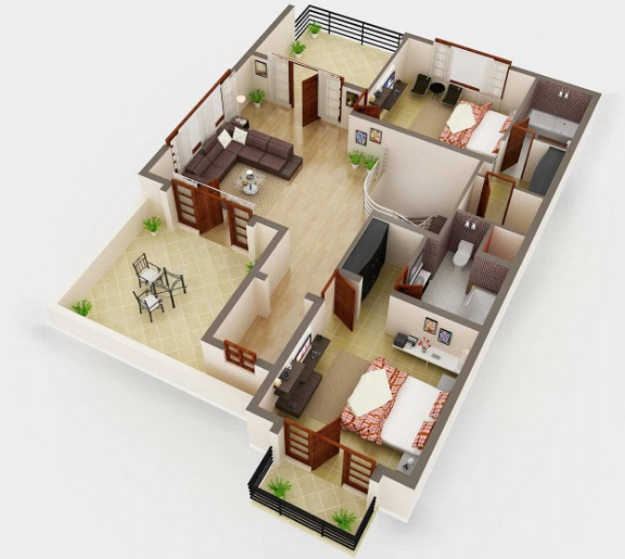 3d House Plan Image Sample Sample Picture Living Room
