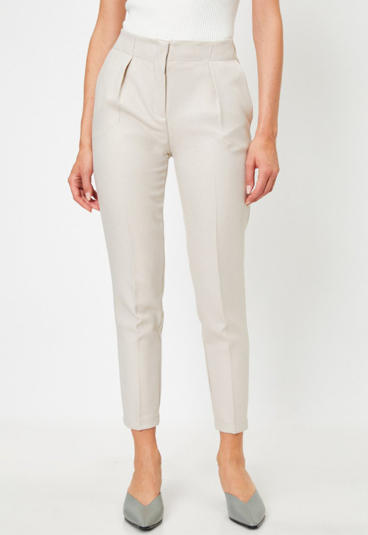 Pantaloni femei eleganti albi crop conici cu talie elastica