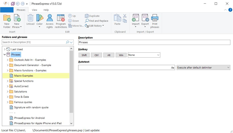 PhraseExpress Main Interface Screenshot