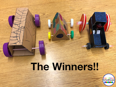 The fastest cars from our STEM project race.