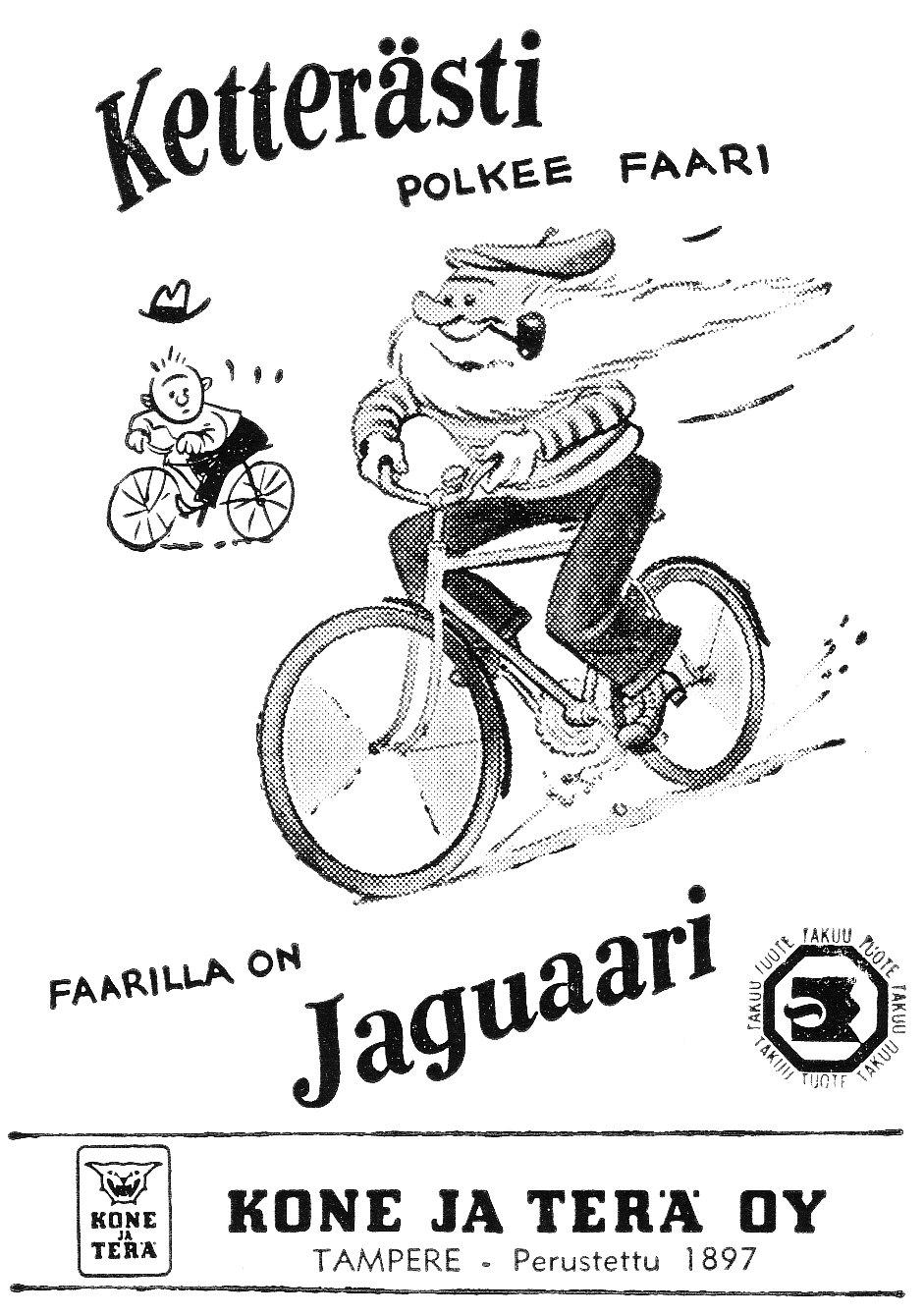 vanhoja mainoksia  jaguaari polkupy u00f6r u00e4 1958
