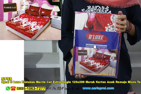 Sprei D Luxe Kintakun Marrie Cat Extra Single 120x200 Merah Kartun Anak Remaja Micro Tex Disperse
